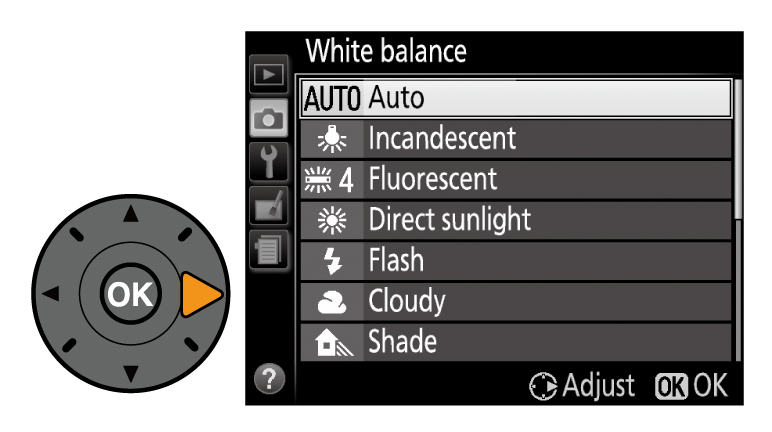 d3300 how to set white balance